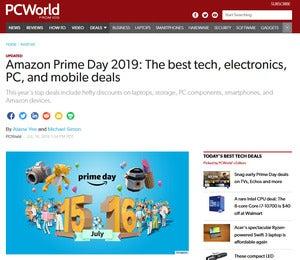 Скриншот страницы предложений Amazon Prime Day 2019 на PCWorld.com