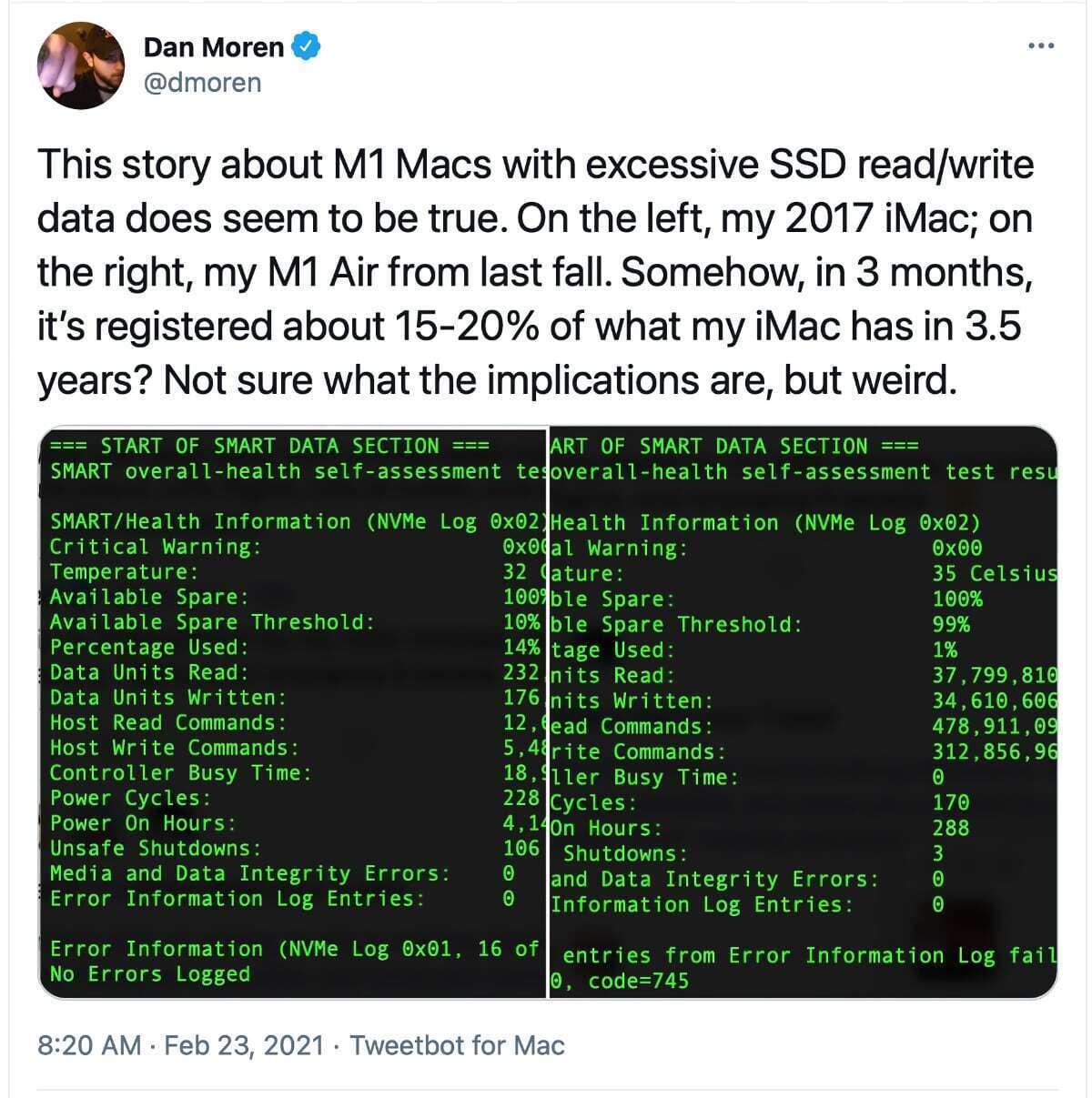 dmoren enforcement M1 Mac SSD