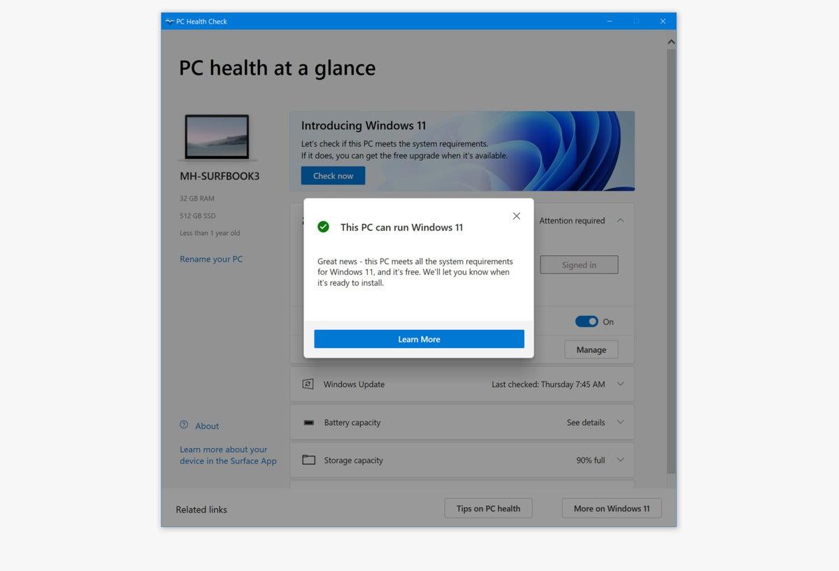 Windows 11 PC Heath Check