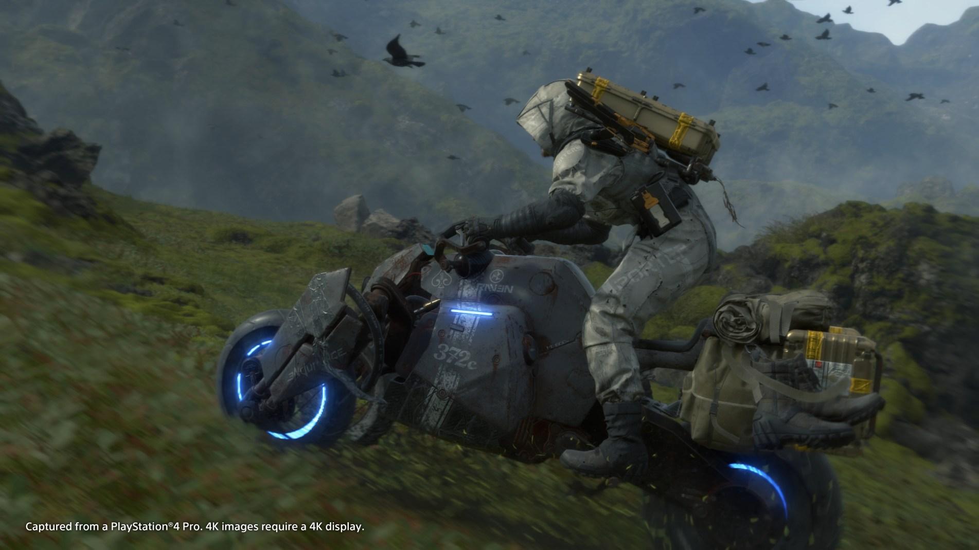 Sam moves through the landscape via a Motorbike.