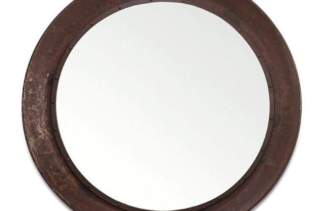 Espejo de bandeja de hierro recuperado