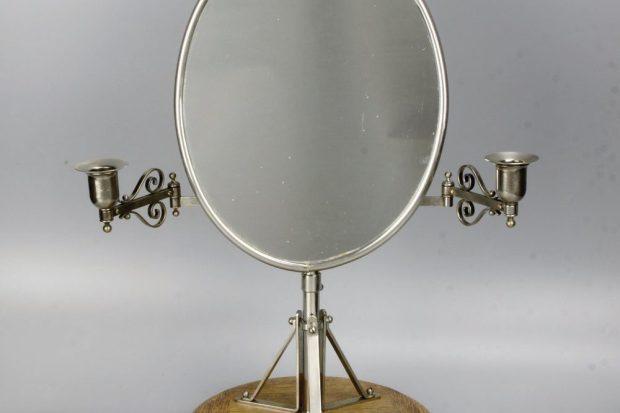 Espejo de afeitado de latón plateado Arts and Crafts, c1890