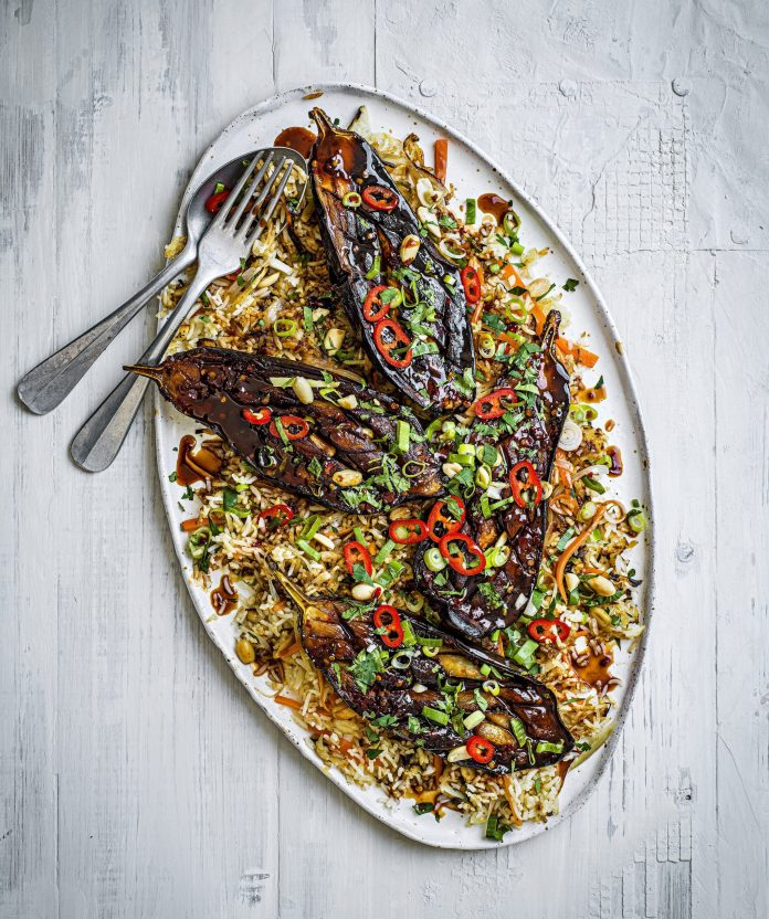 Soy Roasted Aubergines Recipe With Fried Rice