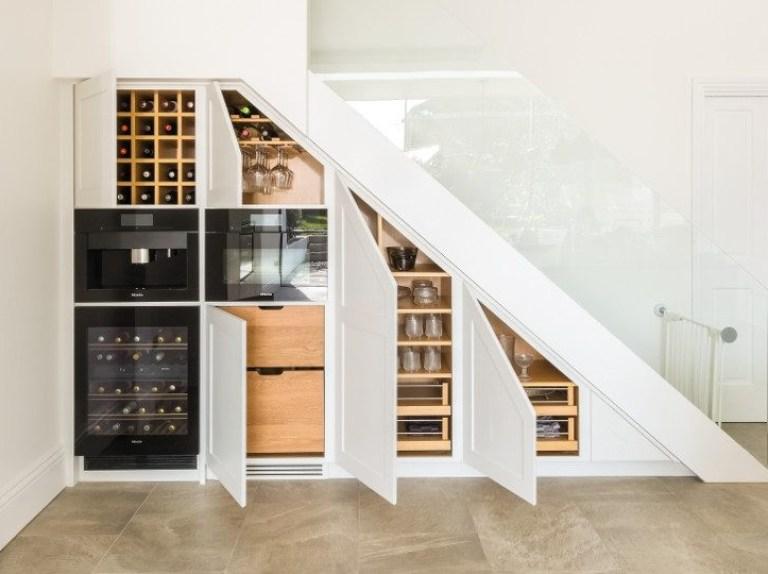 Under Stairs Storage Solution For A London Shaker Kitchen Ekbb | Kitchen Under Stairs Design | Stair Case | Wet Bar | Basement Stairs | Living Room | Basement Kitchenette