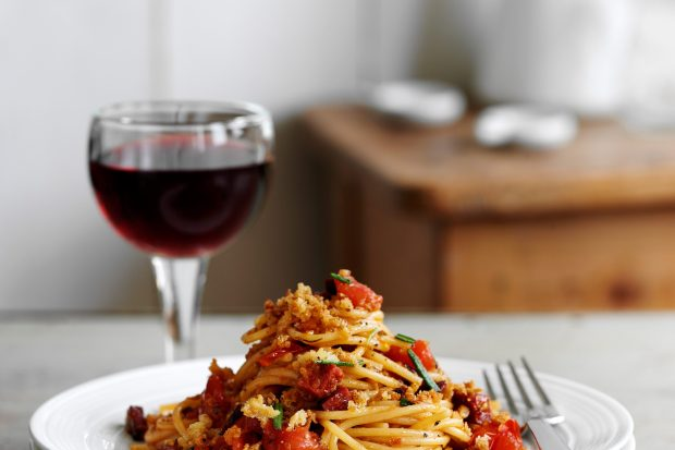 Chorizo Spaghetti Recipe with Pangritata