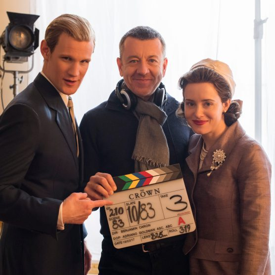 The Crown - Matt Smith, Peter Morgan, Claire Foy - Writer/Creator Peter Morgan with Matt Smith (Prince Philip) and Claire Foy (Queen Elizabeth II) (Netflix, TL)