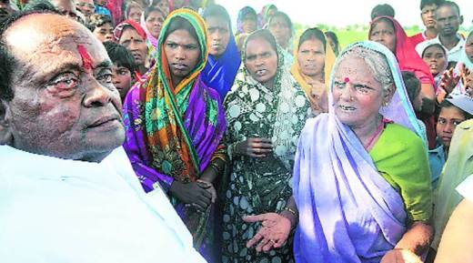 Dalit leader Ramai Ram at Mohanpur where a boy was burnt alive, allegedly by upper-caste men.  Source: Prashant Ravi