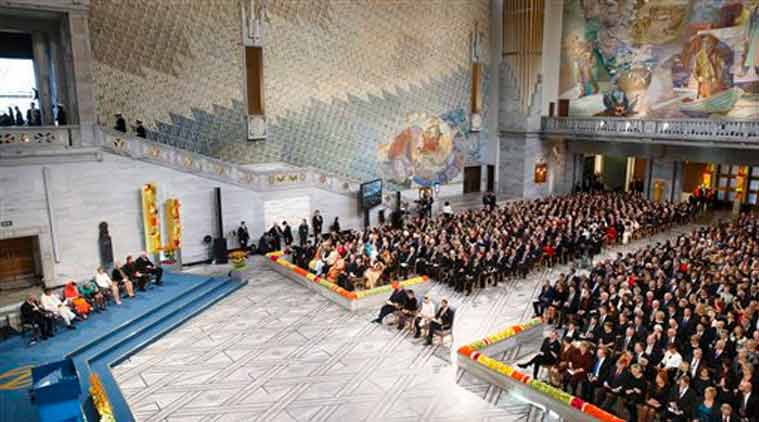 General view of the Nobel Peace Prize award ceremony at the City Hall in Oslo (Source: AP)