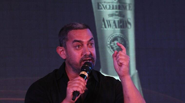Aamir Khan at the Ramnath Goenka Excellence in Journalism Award in New Delhi on Nov 23rd 2015. Express photo by Neeraj Priyadarshi