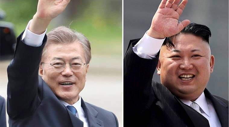 Image result for images of kim jong-un and President Moon Jae-In