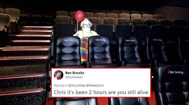 IT clown spotted in an empty movie hall; Twitterati freakout