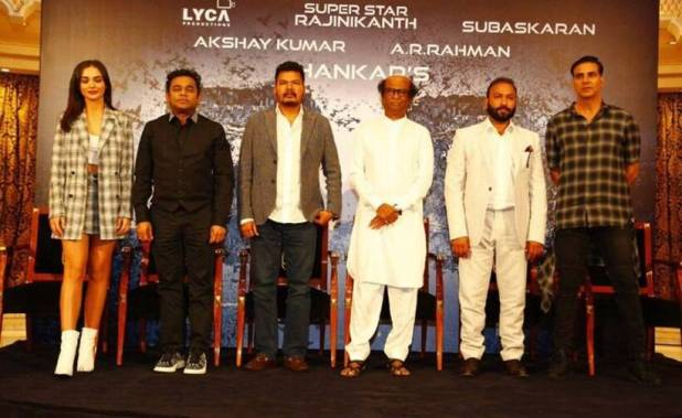 2.0, 2.0 press meet. 2point0 press meet, rajinikanth, akshay kumar, amy jackson, AR Rahman, s shankar