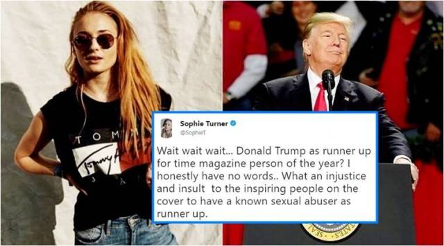 GOT star Sophie Turner denounces Time magazines choice of Donald Trump as runner-up, Twitterati point out even Hitler was named