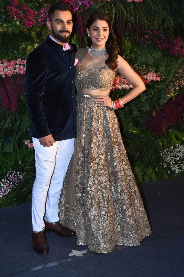 anushka sharma and virat kohli at mumbai reception