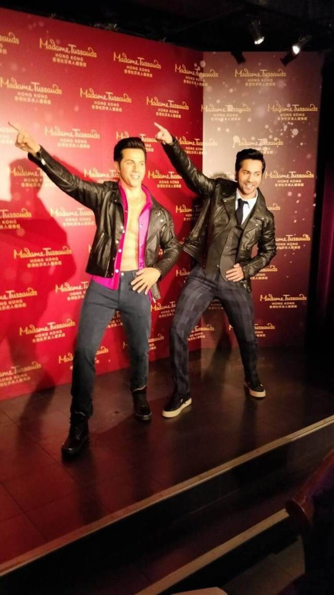 Varun Dhawan with his wax statue