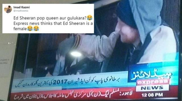 Pak news channel refers to Ed Sheeran as Brit pop queen, best female singer; results in a laugh riot on the Internet