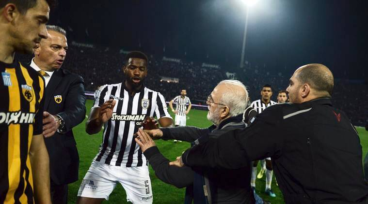 Greek League suspended after club president invades pitch ...