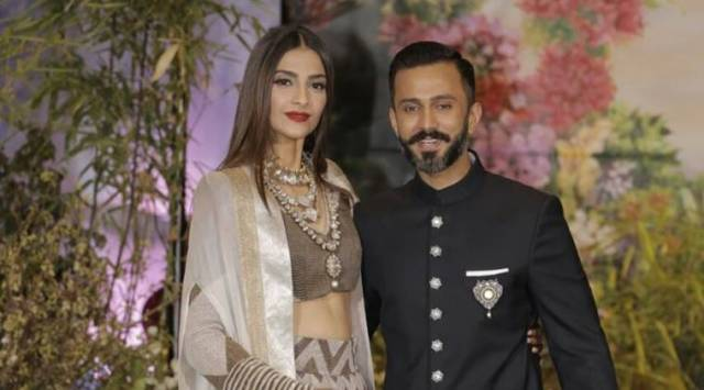 Sonam Kapoor-Anand Ahuja reception: Sonams Anamika Khanna lehenga is an unusual pick, so is Anands choice to go with sneakers