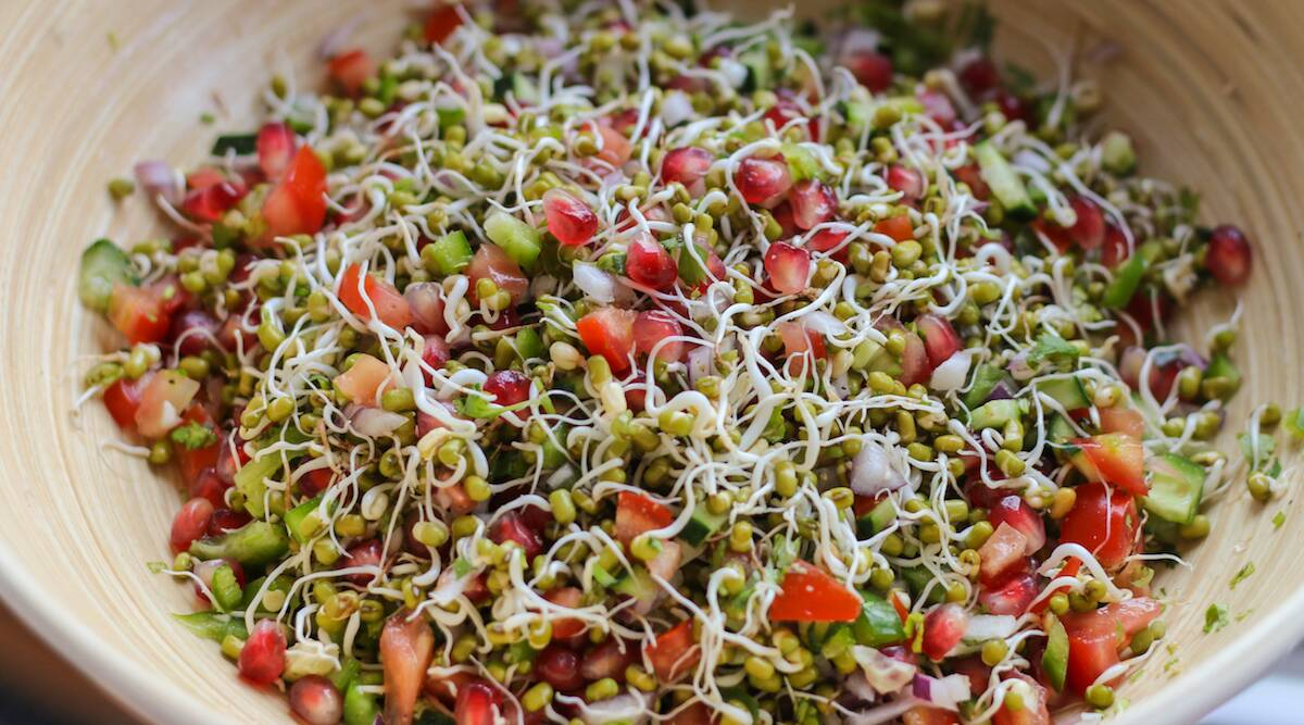 Express Recipes: This 'Sprouted Moong Dal Salad' is a healthy alternative  to roadside chaat | Lifestyle News,The Indian Express