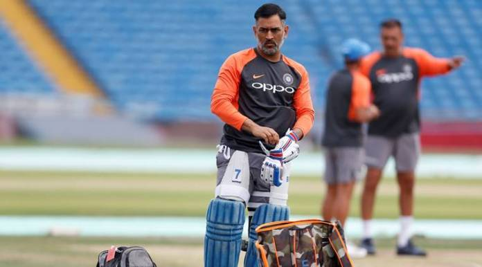 India's MS Dhoni during nets prior to third England ODI