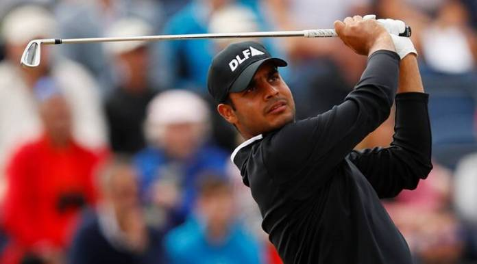 India's Shubhankar Sharma in action during the third round at The Open
