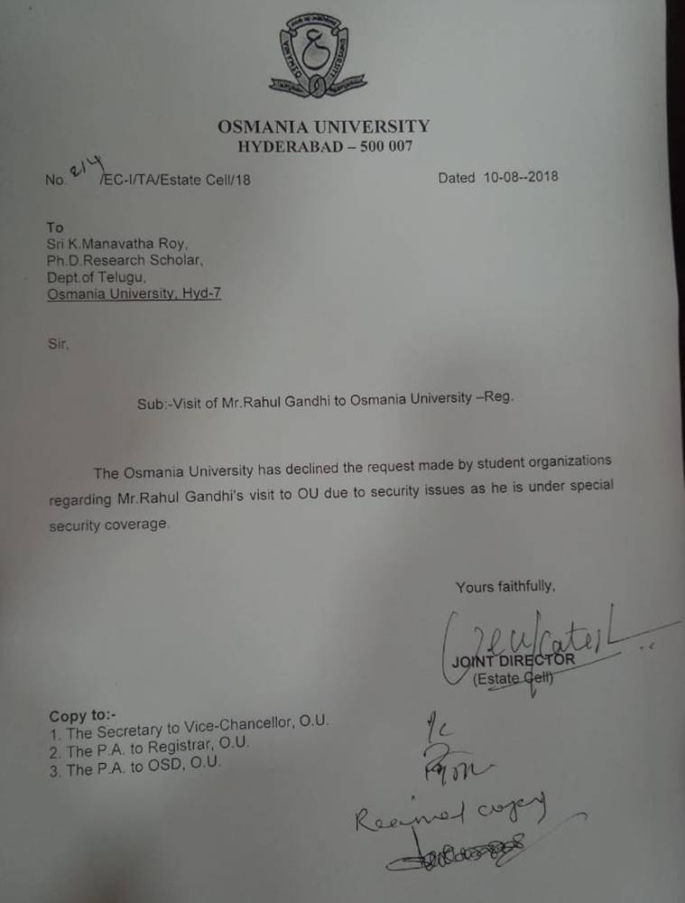 osmania university rahul gandhi event, rahul gandhi event cancelled, osmania university student protest, osmania university rahul gandhi, rahul gandhi denied permission