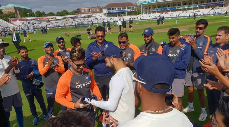 Virat Kohli and Rishabh Pant before start of third Test against England in Nottingham