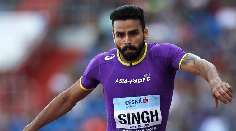 Arpinder Singh of India competes to take a third place in the men's triple jump for Asia-Pacific at the IAAF track and field Continental Cup in Ostrava, Czech Republic