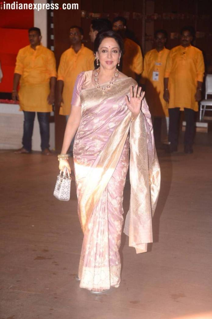 hema malini photos  Mukesh Ambani's Ganesh Chaturthi bash: Kareena, Katrina, Madhuri, and others arrive in style hema malini