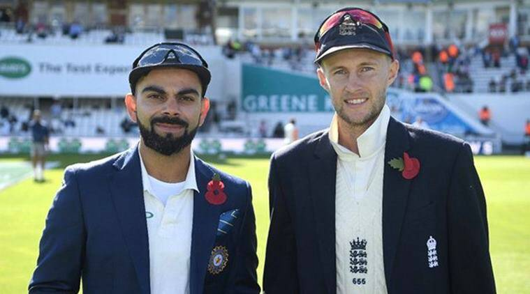 Virat Kohli and Joe Root at the start of the fifth Test