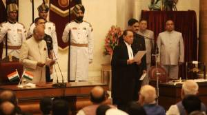 """President Ramnath Kovind chairs the Oath Taking ceremony of Justice Ranjan Gogoi, as the latter is sweared in as the next Chief Justice of India. Present among the dignitaries are Prime Minister Narendra Modi, members of the cabinet, opposition and others at the Rashtrapati Bhavan in New Delhi on Wednesday. Express Photograph by Neeraj Priyadarshi 031018 Chief Justice of India (CJI) Ranjan Gogoi Wednesday said """"parameters"""" will be worked out for urgent mentioning and hearing of cases. Justice Gogoi, who took oath as the 46th CJI, said """"no urgent mentioning of cases will be allowed"""" till certain parameters are fixed for it. """"We will work out the parameters then we will see as to how mentioning will be done,"""" he said. """"If somebody is going to be hanged tomorrow, then we can understand (urgency)"""", the CJI said. President Ram Nath Kovind administered the oath to the 63-year-old Justice Gogoi at a brief ceremony in Rashtrapati Bhavan's Darbar Hall. Justice Gogoi succeeds Justice Dipak Misra Justice Gogoi will have a tenure of a little over 13 months and would retire on November 17, 2019."""