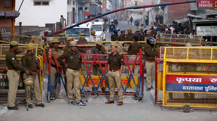 With the BJP and the Rashtriya Swayamsevak Sangh pulling out all stops to mobilise people for the event, police are taking no chances. (Express photo/Vishal Srivastav)