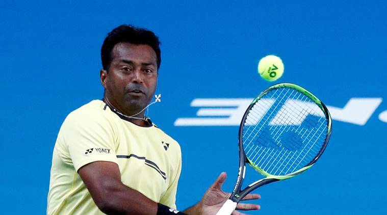 Leander Paes in action during the match against Germany's Anna-Lena Groenefeld and Colombia's Robert Farah at Australian Open 2019