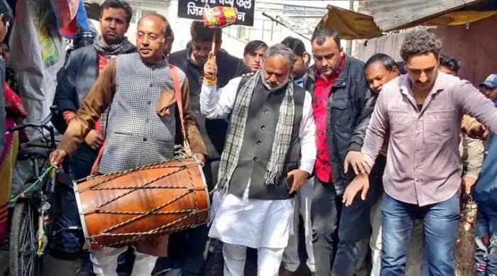 Vijay Goel, Dhol Andolan, Delhi BJP, BJP Delhi, Dhol Andolan Vijay Goel, Delhi AAP, AAP BJP, Manoj Tiwari, Delhi news, Indian express