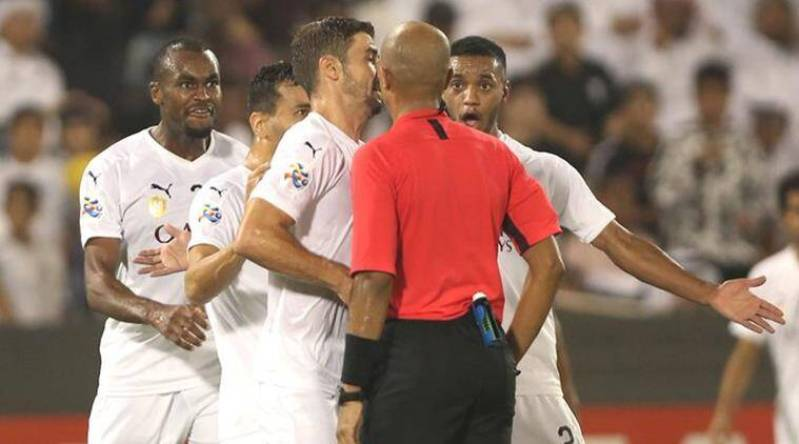Image result for Abdelkarim Hassan confronting a referee in the Asian Champions League semifinals