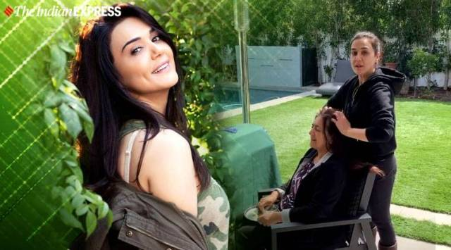 preity zinta, preity zinta champi video, indianexpress.com, indianexpress, hair oil massage benefits, champi benefits, what is champi, home quarantine, self quarantine, social distancing, free time at home, coronavirus how to be productive, covid19, coronavirus 2019, coronavirus work from home, champi benefits for hair,