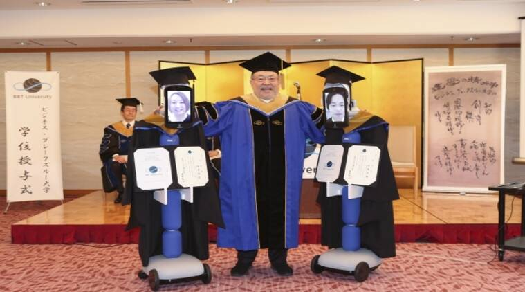 "Remote-Controlled Robots, Japanese university virtual graduation, ANA Group's ""Newme"" robot, Business Breakthrough University"