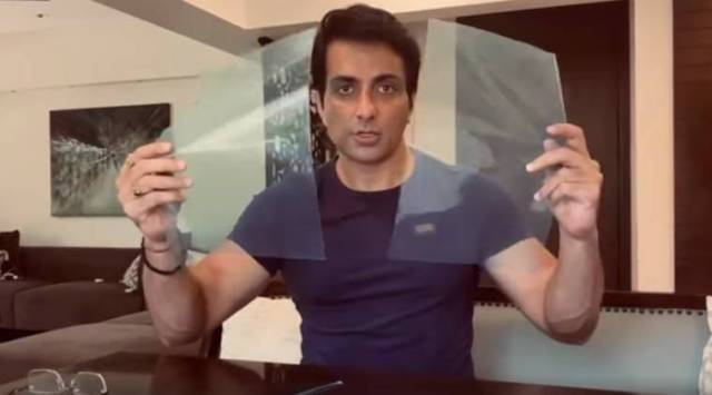 sonu sood, sonu sood face shield, sonu sood how to make face shield, sonu sood face masks, sonu sood face shield video, indian express, indian express news