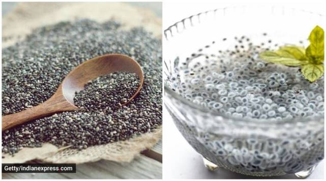 chia vs basil seeds, sabja chia seeds difference, explain difference between chia seeds and sabja seeds, chai seeds vs sabja seeds, indianexpress.com, indianexpress, basil seeds, chia seeds, difference between chia and sabja, pooja makhija, dietitian lavleen kaur,