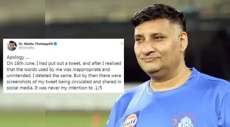 CSK doctor, CSK doctor suspended, CSK doc tenders apology, Dr. Madhu Thottappillil, CSK doc Madhu Thottappillil, CSK doc tweet