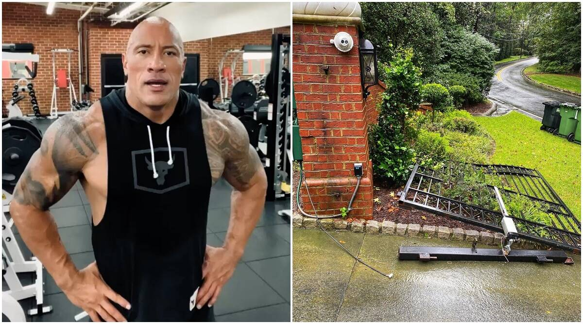 Dwayne Johnson rips off a metal gate with bare arms, channels his inner Black Adam