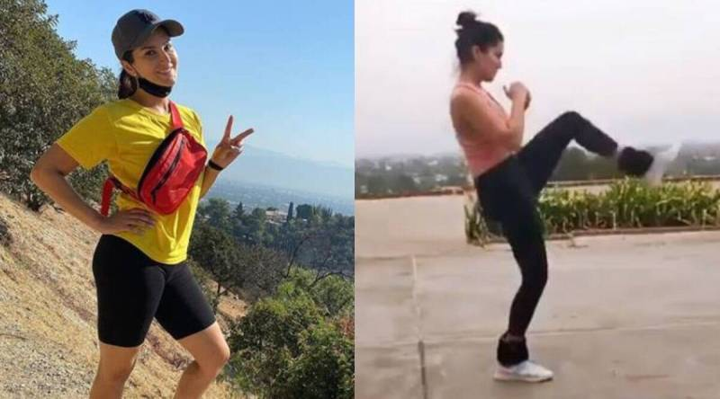 sunny leone 1200 - Sunny Leone exercises with heavy ankle weights; watch video