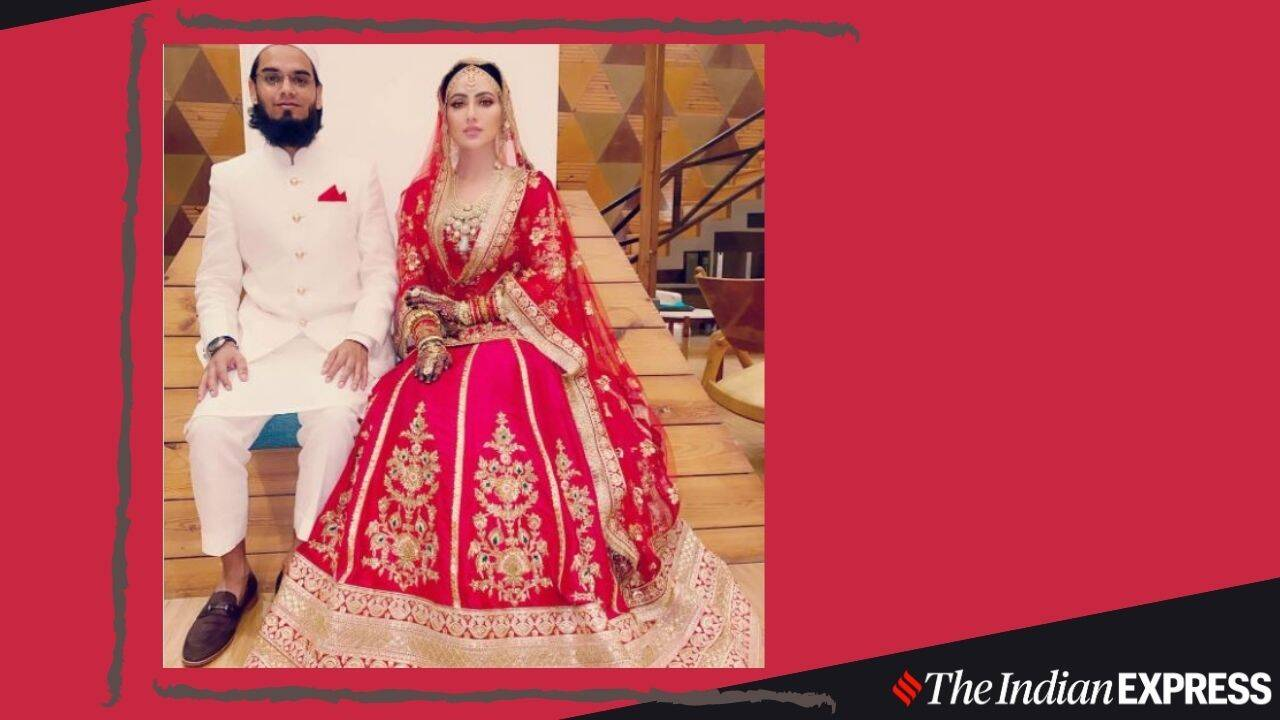 Personal Vlog YouTube Thumbnail 2 Sana Khan gets married in a lovely traditional red and gold lehenga
