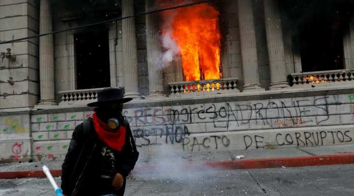 Congress building fire in Guatemala, protest in Guatemala, world news, Indian Express