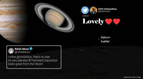 Conjunction of Saturn and Jupiter, conjunction of Saturn and Jupiter from the Moon, Saturn Jupiter - great conjunction, Conjunction of Saturn and Jupiter seen from the Moon, great conjunction from the Moon, Trending news, Express news.