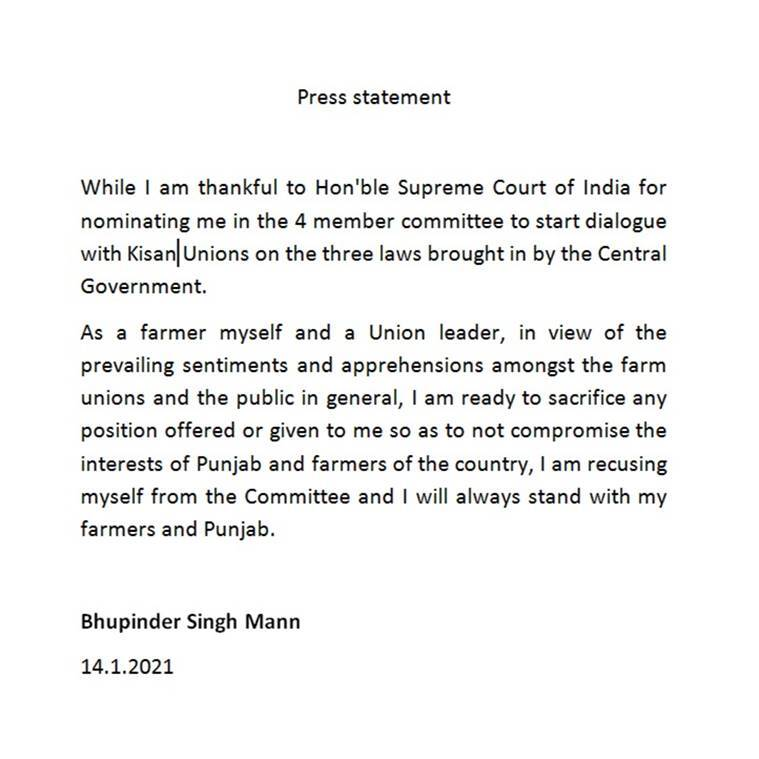 Bhupinder Singh Mann, SC panel on farm lawes, Supreme court on farm laws, Bhupinder Singh Mann recuses himself from panel, Farm laws, Farmers protests, India news, Indian express