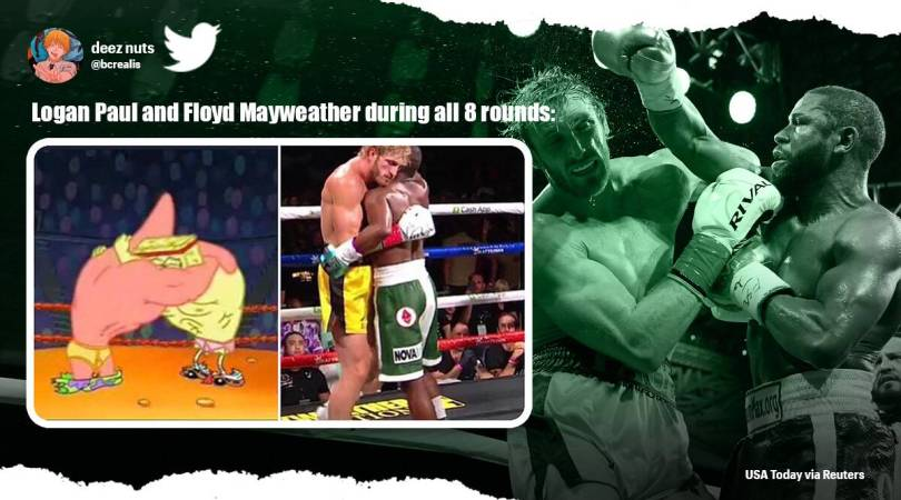 'They hug it out': Memes take over Twitter after Logan Paul and Floyd Mayweather Jr. 'cuddle match'