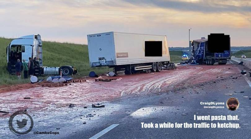 'Horror film' crash scene on UK road turns out to be tomato puree spillage, netizens react with jokes