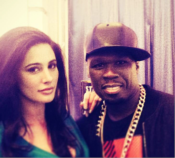 Snapshot: Hot Nargis Fakhri poses with international rapper 50 Cent during the shoot of 'Spy'