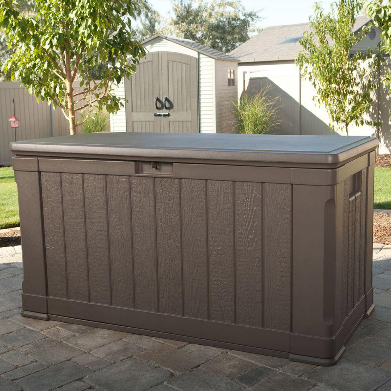 Lifetime Outdoor Deck Storage Box 116 Gallon Brown 841101004395 Ebay